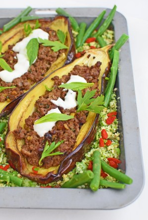 Middle Eastern Eggplant, with crunchy broccoli taboulli, from Simplicious
