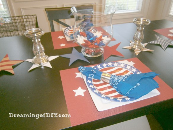 cork, patriotic theme table, craft paint