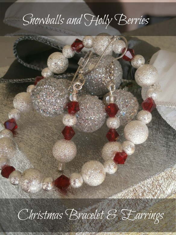 Jewelry, Holly Berries, Snow balls, Bracelet, earrings