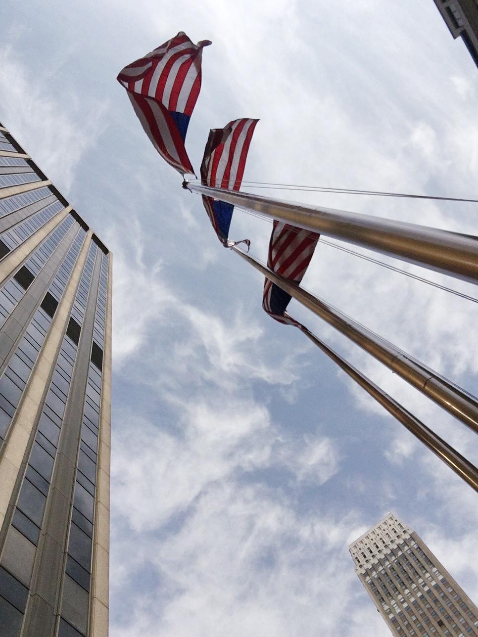 New York Fashion Week Diary : American Flags outside One Penn Plaza