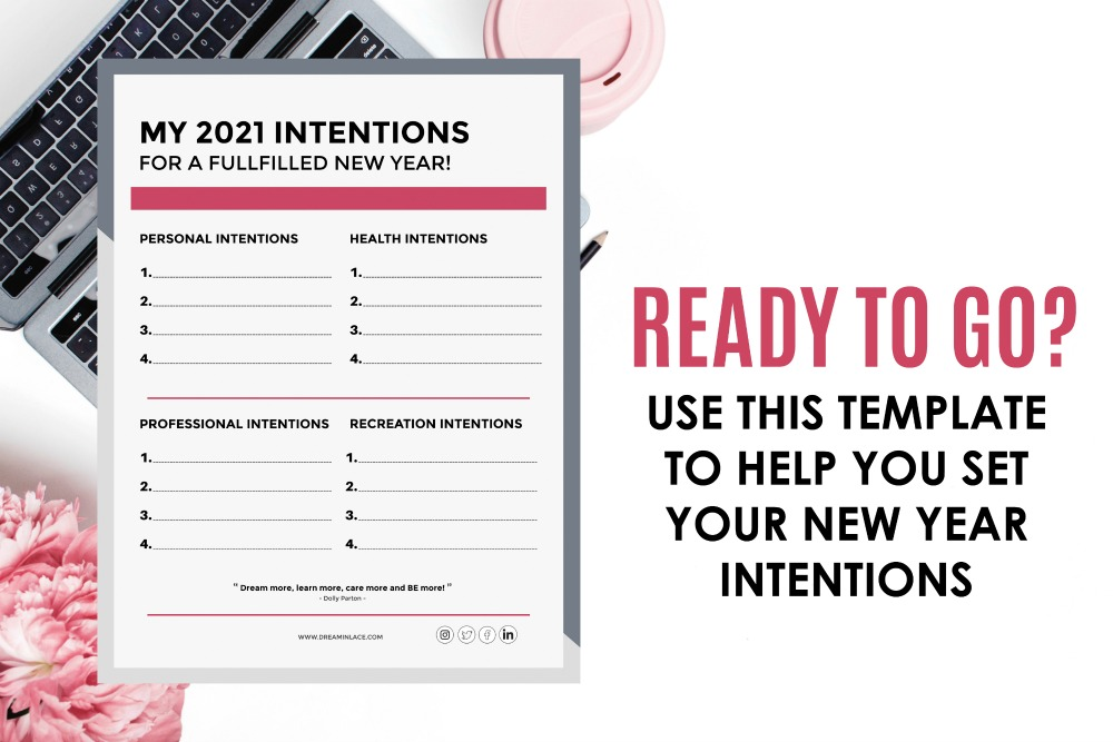 TEMPLATE FOR SETTING NEW YEAR INTENTIONS AND GOALS I DREAMINLACE.COM #GOALS #DAILYINSPO #MOTIVATION