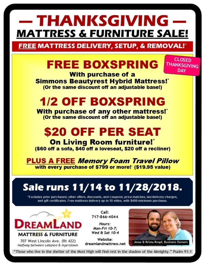 Thanksgiving Dreamland Mattress & Furniture Sale Lebanon PA