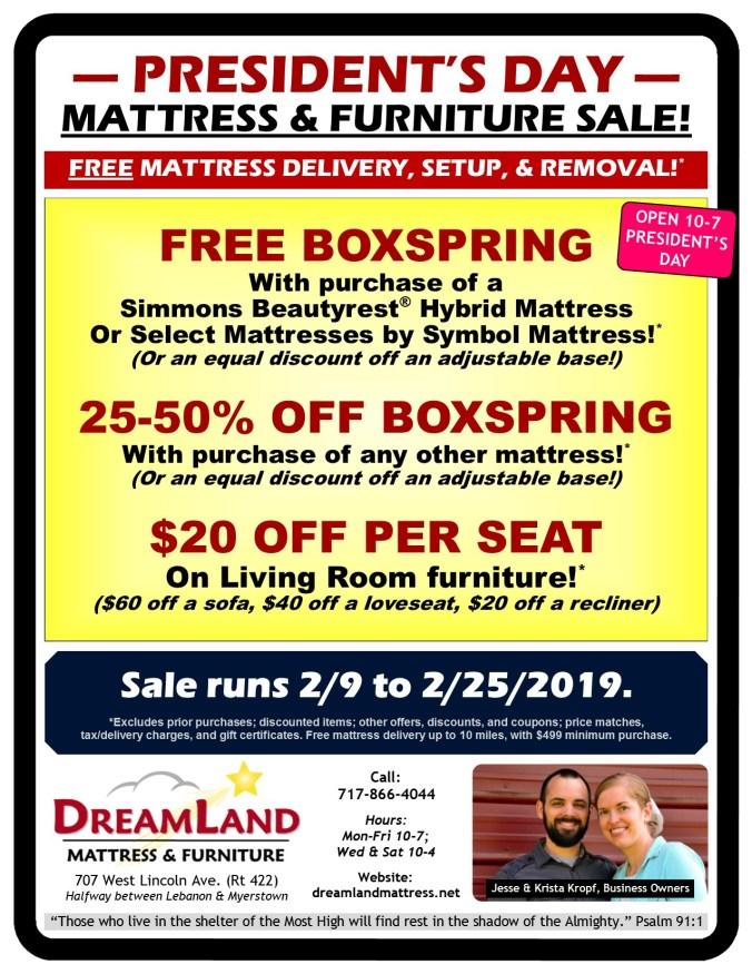Presidents Day Mattress Furniture Sale Dreamland Mattress Store Lebanon PA