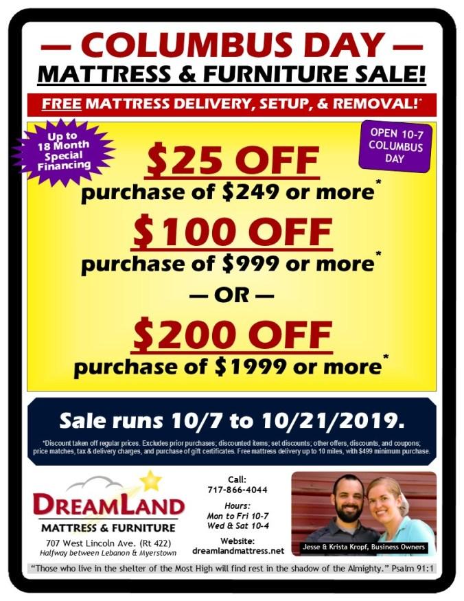 Columbus Day Mattress & Furniture Sale at Dreamland Mattress Store in Lebanon PA