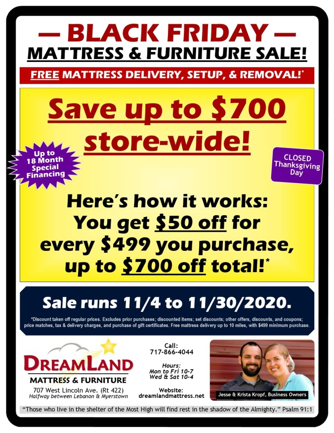 Black Friday Mattress & Furniture Sale at Dreamland Mattress Store in Lebanon PA