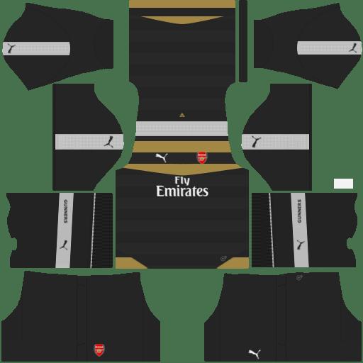 kit Arsenal DLS 20 uniforme goleiro casa 14-15