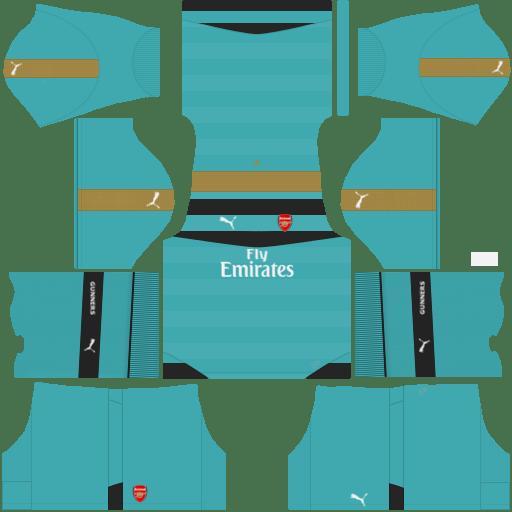 kit Arsenal dls17 uniforme goleiro fora de casa 14-15