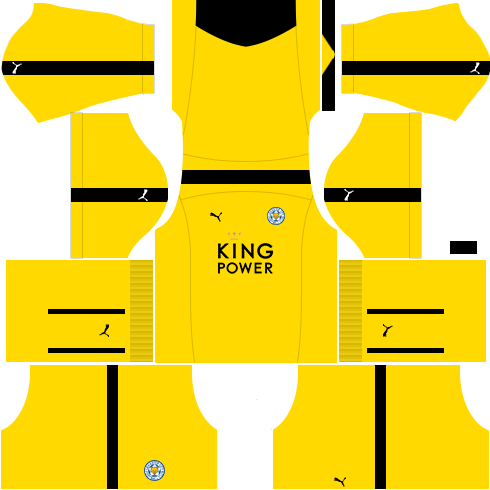 kit leicester dls17 uniforme goleiro fora de casa