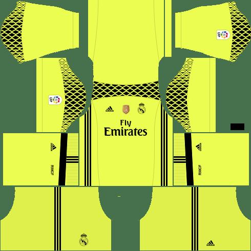 kit real madrid dls17 uniforme goleiro fora de casa 16-17