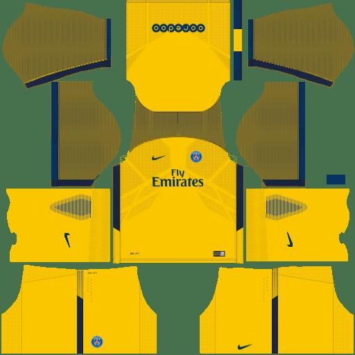 Kit PSG dls18 away - uniforme fora de casa 17-18