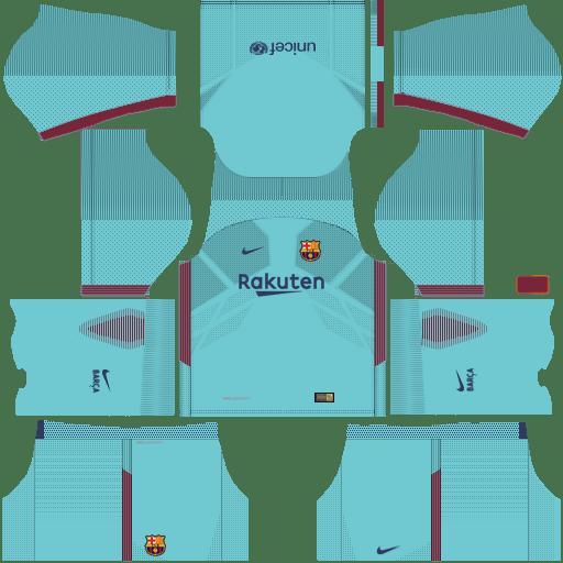 Kit barcelona fc dls17 nike kits 2017-2018 away-fora de casa