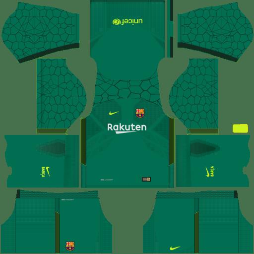 Kit barcelona fc dls17 nike kits 2017- 2018 away_gk - goleiro fora de casa
