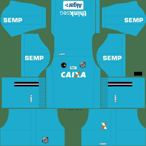 Kit santos dls17 home Gk - uniforme goleiro casa 17-18