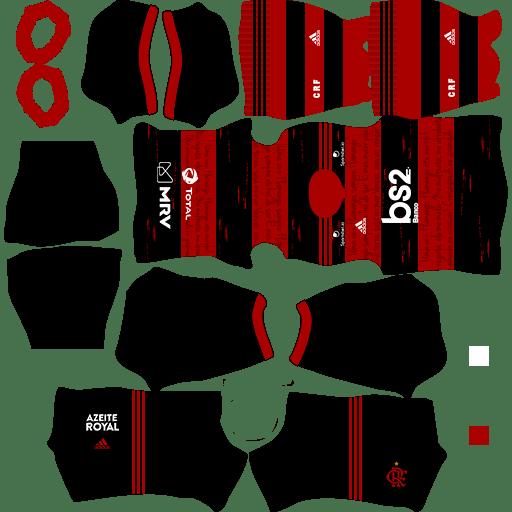 kit flamengo dls20 home uniforme casa 19-20