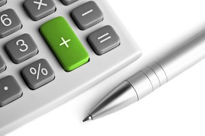 calculator and pen. plus button colored green