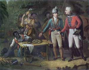 "John Blake White's painting titled ""General Marion Inviting a British Officer to Share His Meal"" features sweet potatoes."