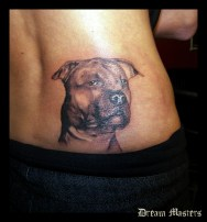 Svetlyo , Custom black and gray realistic dog tattoo