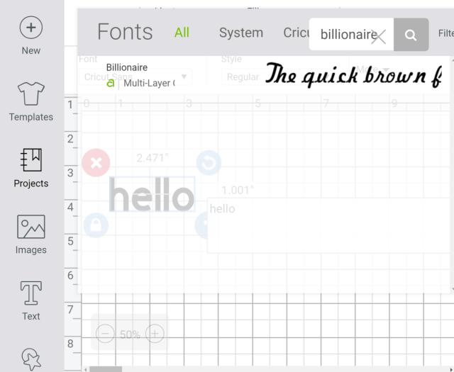 Select Font in Cricut Design Space