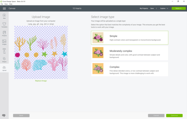How to change the complexity of a Cut of an uploaded image in Cricut Design Space.