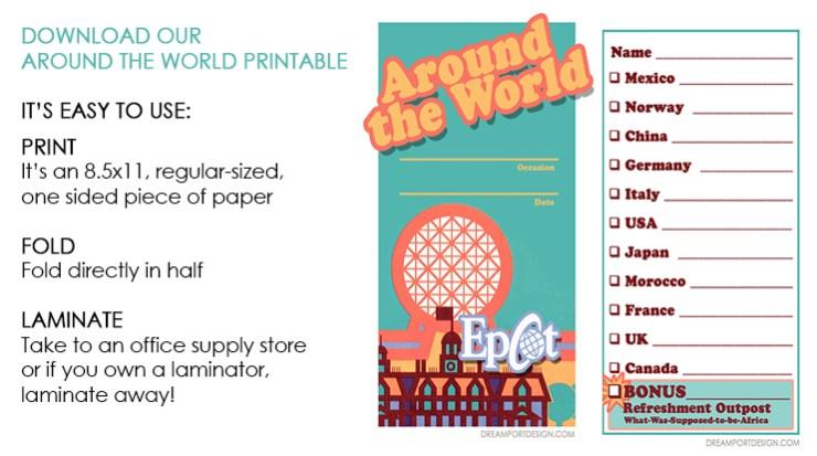 Printable download Disney food and wine