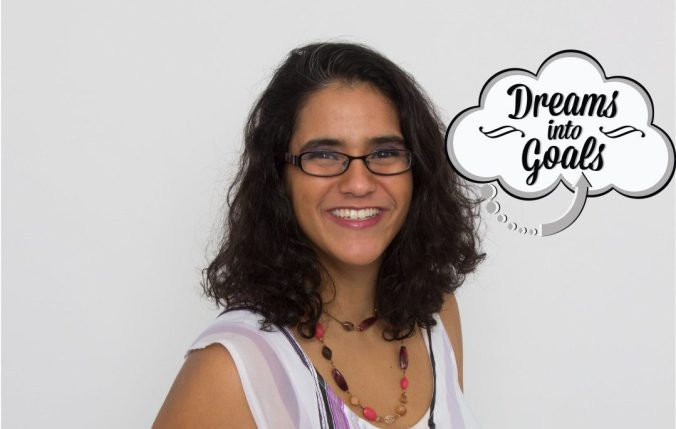 Photo of Mariana Abeid-McDougall, freelance writer, with Dreams into Goals writing logo