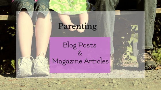 Parenting blog posts and magazine articles graphic; photo of adults and baby's feet in background