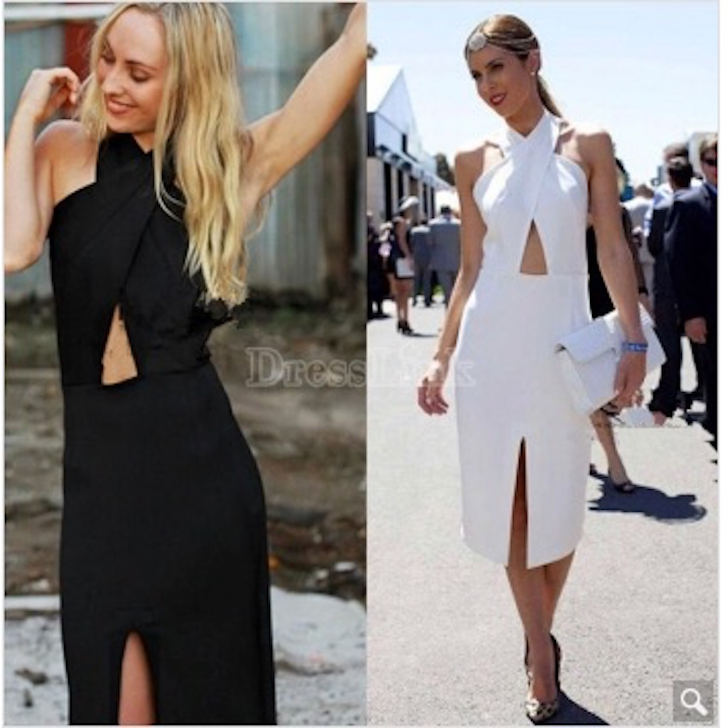 Women Fashion Elegant Sexy Halter Sleeveless Backless Wrap Split Irregular Solid Pencil Dress