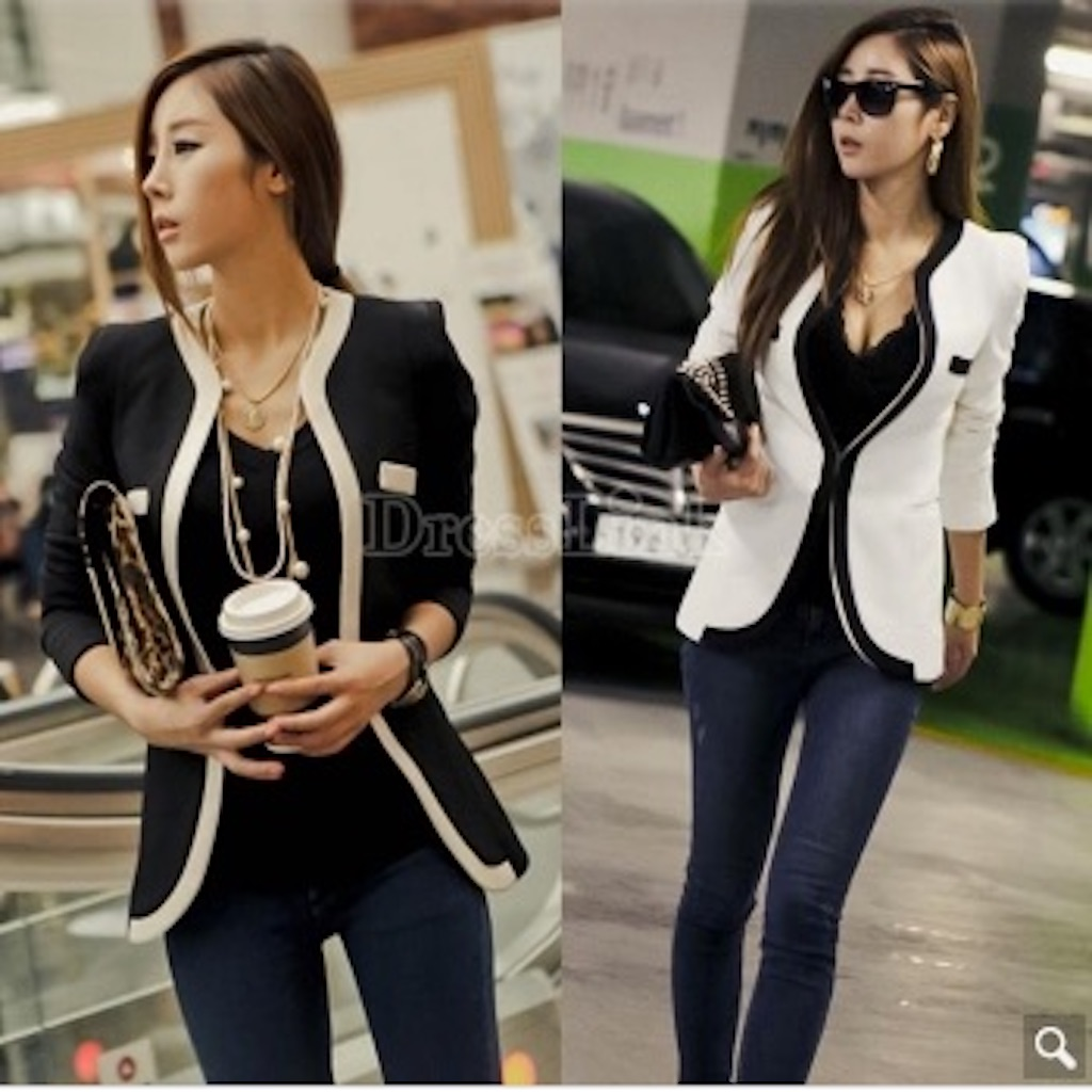 Women's OL V-neck Autumn White Black Color Slim Suits Jacket Coat