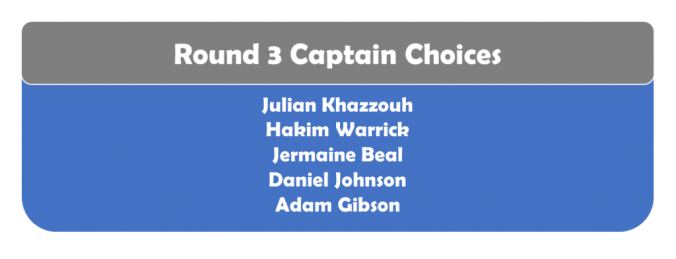 Round 3 Captains