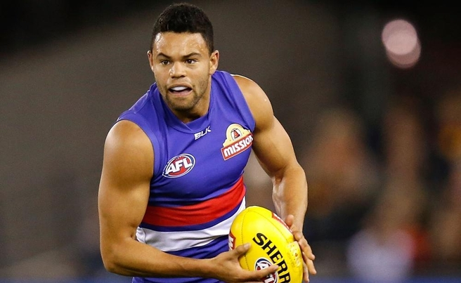 Jason Johannisen of the Bulldogs in action during the 2015 AFL Round 04 match between the Western Bulldogs and the Adelaide Crows at Etihad Stadium, Melbourne on April 26, 2015. (Photo: Michael Willson/AFL Media)