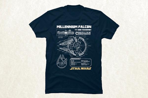Millennium Falcon Blueprint - Star Wars T-shirt