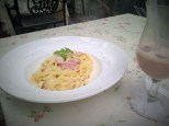 Fettuccine Carbonara and Chocolate Milkshake