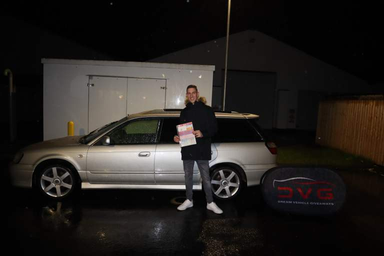 Here is Lachlann from Stornoway north of Scotland and winner of our Subaru Legacy GTB with ticket No. 63 on 06.01.20​
