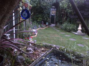 looking down from the swing and the fish pond