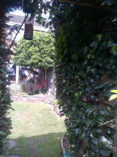 From the archway, looking up from the greenhouse