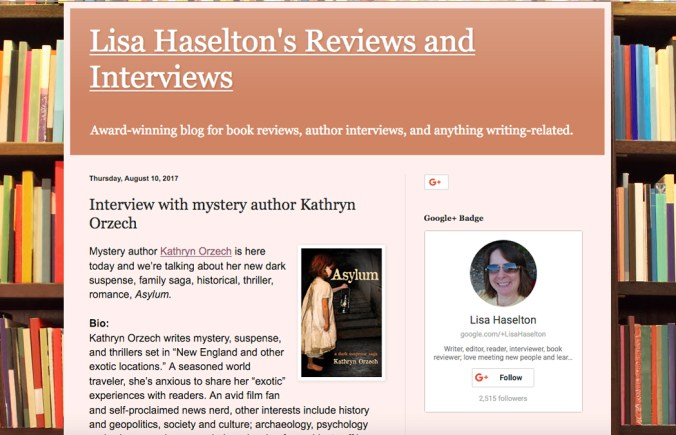 Lisa Haselton's Reviews and Interviews with mystery author Kathryn Orzech