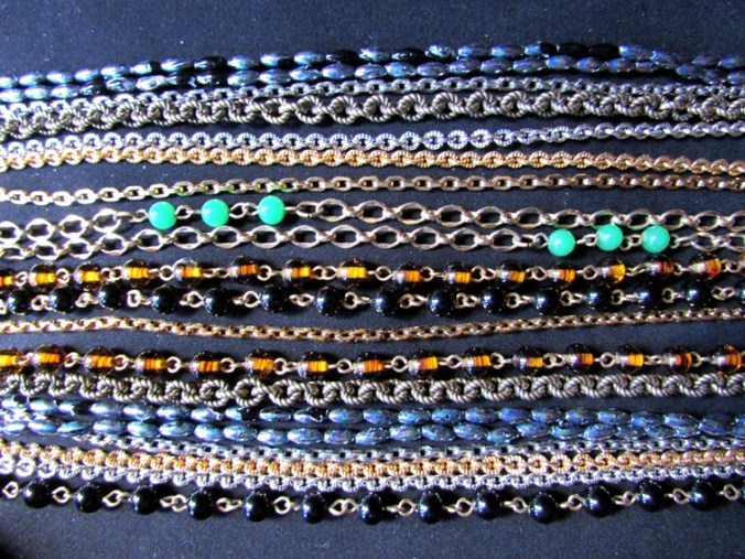 Beads and chains costume jewelry