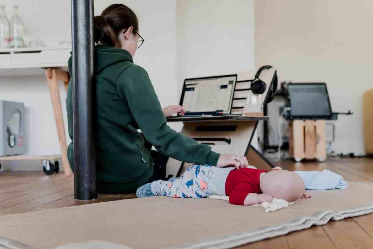 people woman desk laptop
