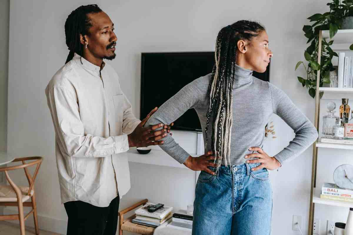 black woman taking offense of boyfriend