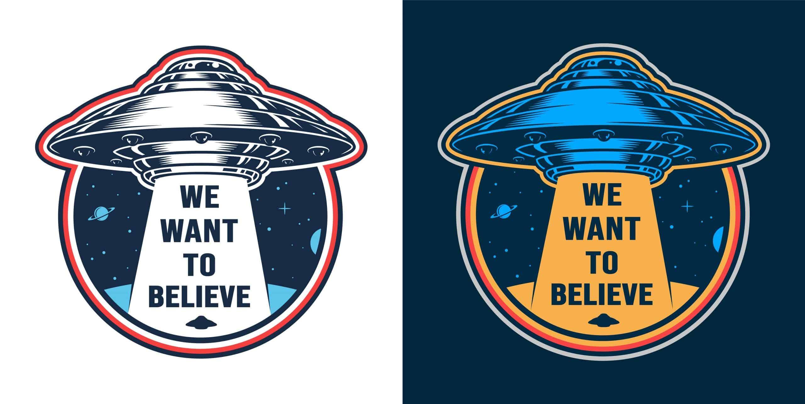 Vintage alien invasion colorful emblem