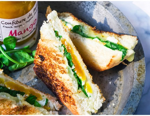 Sweet Savory Grilled Cheese Sandwich with Arugula
