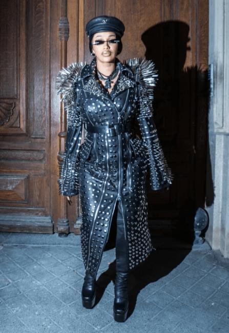 Cardi B Rocks Strange 'Golden Nipple' Outfit At Paris Fashion Week With Offset