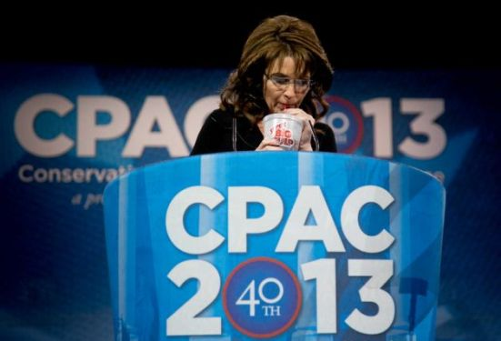 Palin publicly enjoys a big gulp.