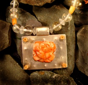 sterling silver, coral, mountain crystal