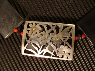 onyx, corals, sterling silver