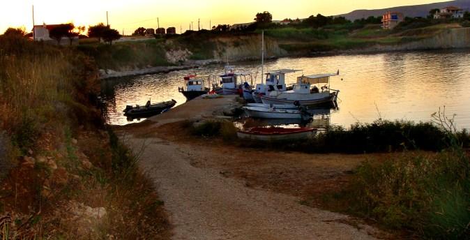sunset at Kounopetra harbour