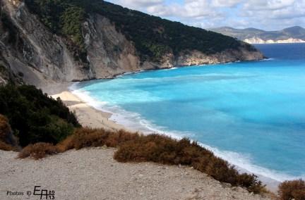 the beautiful Myrtos beach after a storm