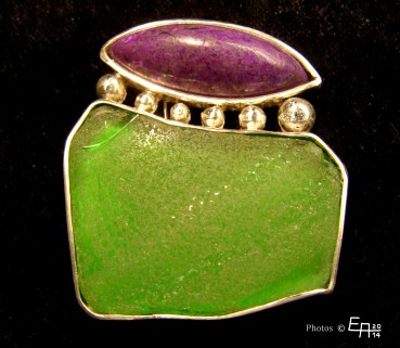 sugilite and beach-glass - brooch