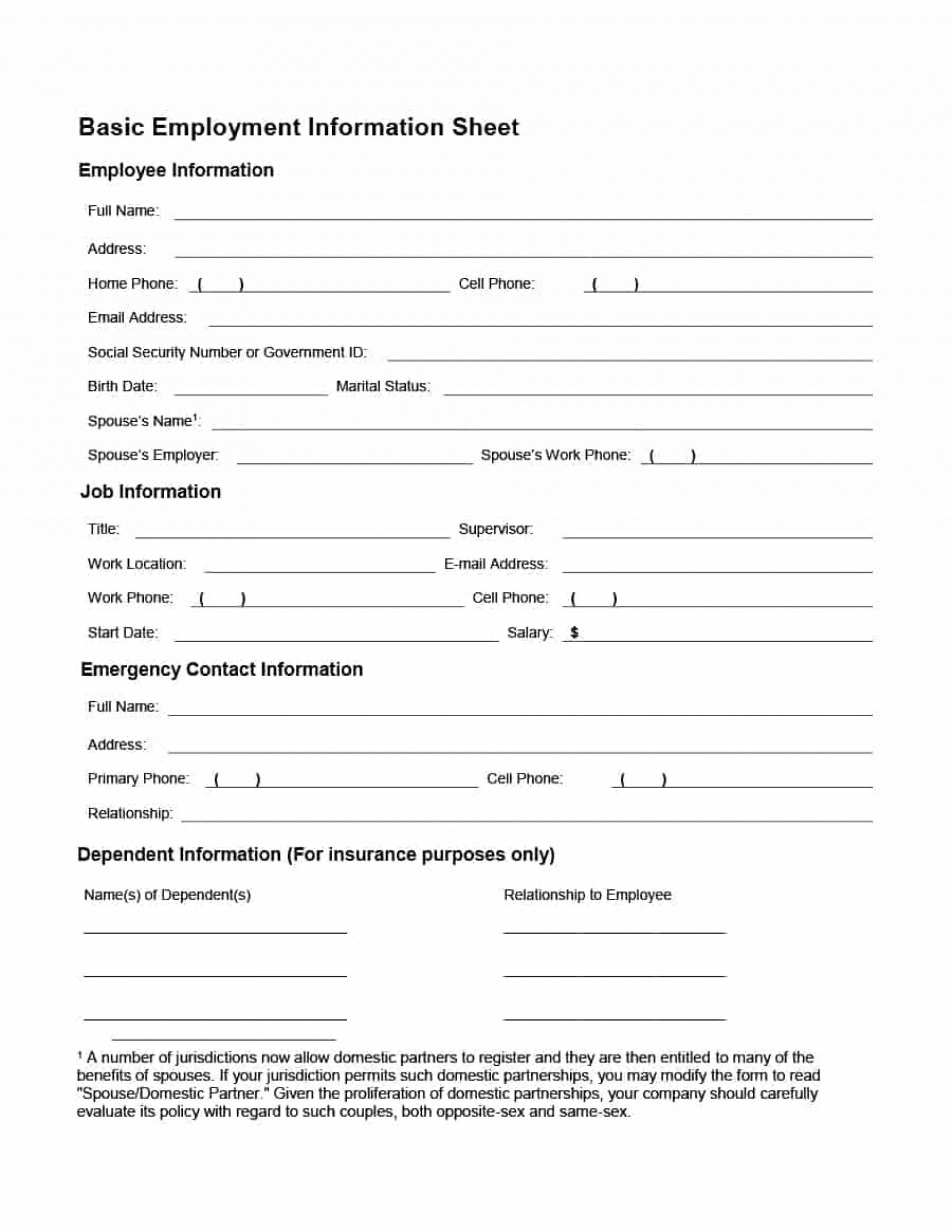 Employee Personnel File Checklist Template