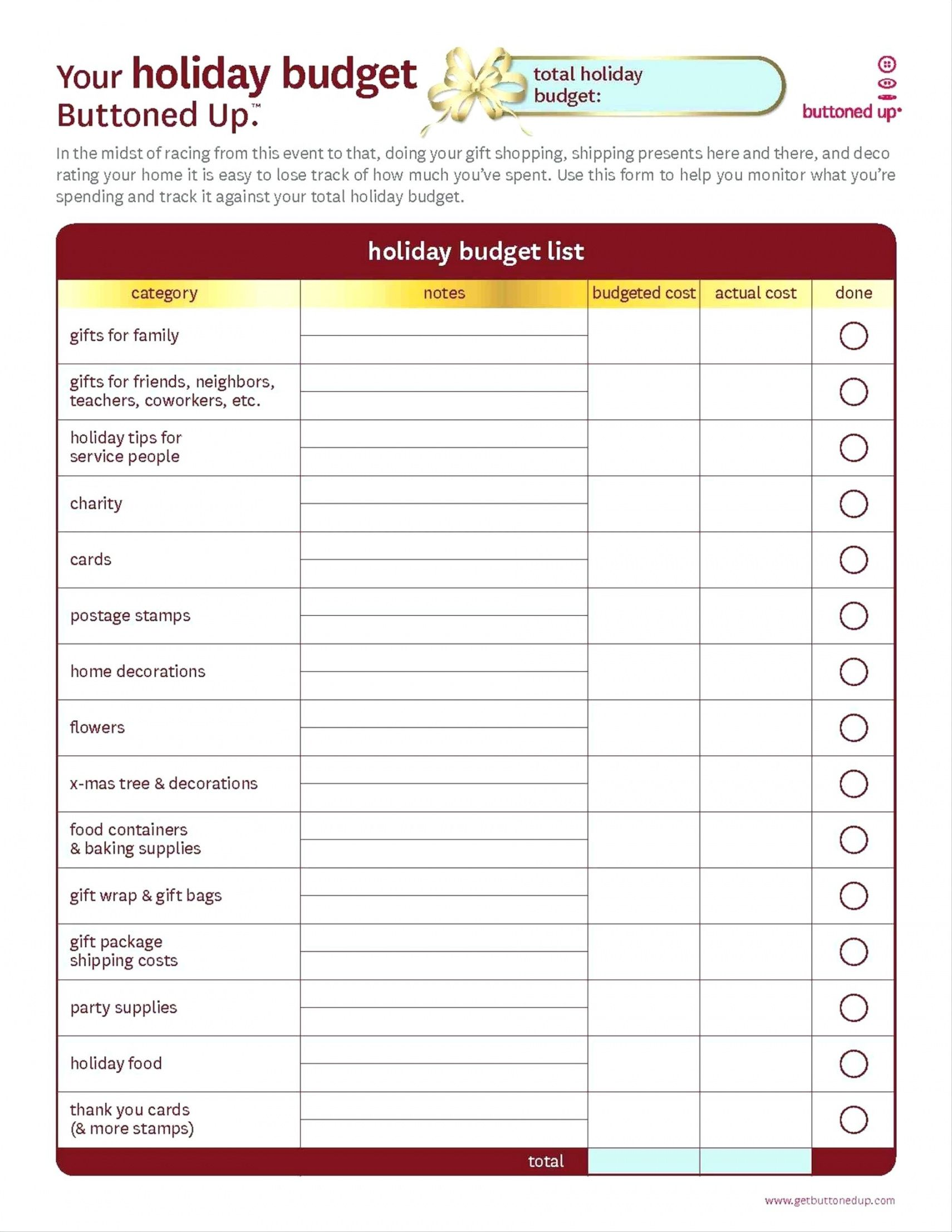 Catering Business Budget Template